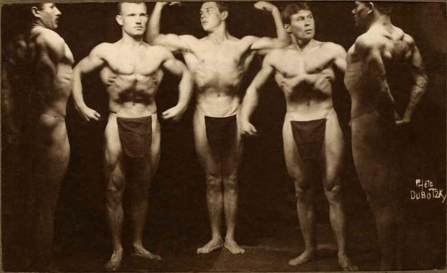 Paul Dubotzki(German, 1891-1969) 'Prisoner athletes, Torrens Island, South Australia' c. 1914