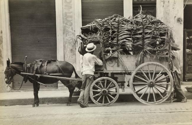 Walker Evans (American, 1903-1975) 'Mule, Wagon and Two Men, Havana' 1933