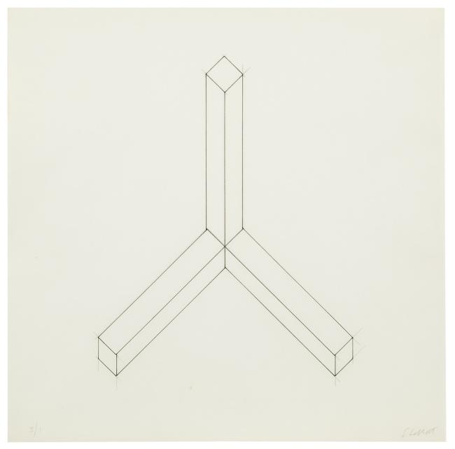 Sol LeWitt. 'Incomplete open cube drawing - ten & eleven part variations' undated (c. 1973/74)