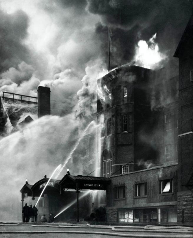 Virna Haffer. 'Old Tacoma Hotel Fire' c. 1935
