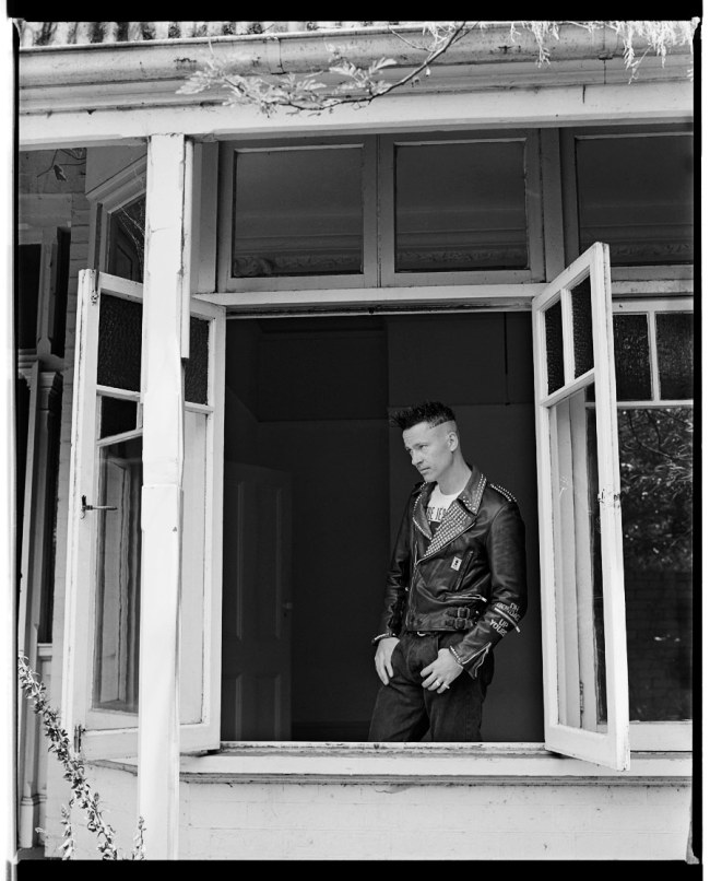 Marcus Bunyan. 'Marcus in his Punk Jacket, Punt Road, South Yarra' 1991-92