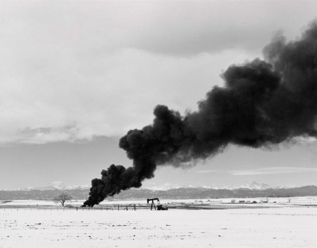 Robert Adams. 'Burning oil sludge, north of Denver, Colorado' 1973-1974