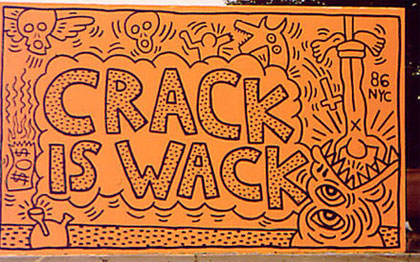 Keith Haring (American, 1958-1990) 'Crack is Wack' as completed by Haring in 1986