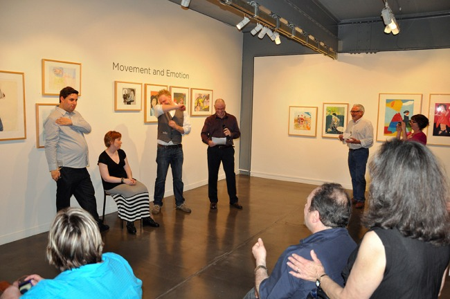 Opening night, with at left curator Paul Hodges, artist Jodie Noble (seated), myself and at right, Jonah Jones, President of the board of Arts Project Australia