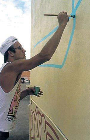 Keith Haring painting The Keith Haring Mural, Johnston Street, Collingwood, Melbourne, 1984