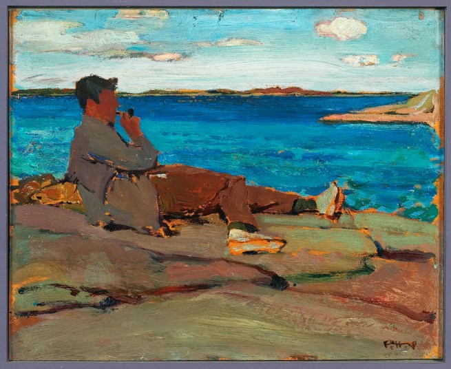 Frederick Horsman Varley. 'Peter Sandiford at Split Rock, Georgian Bay' 1922