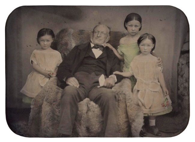 Glaister studio (Australia 1855-1870) 'Untitled (portrait of a man and three girls)' 1855-1870