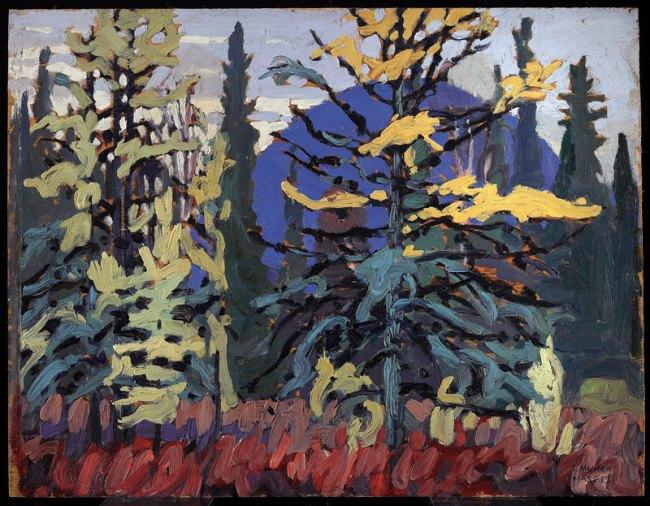 Lawren Harris. 'Tamaracks and Blue Hill' c. 1919