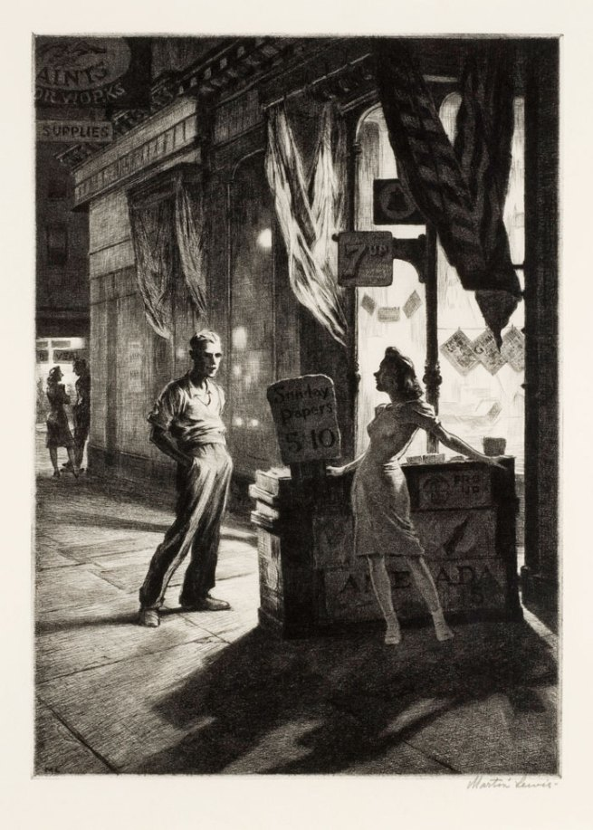 Martin Lewis (Australian, 1881-1962). 'Chance Meeting' 1940-41