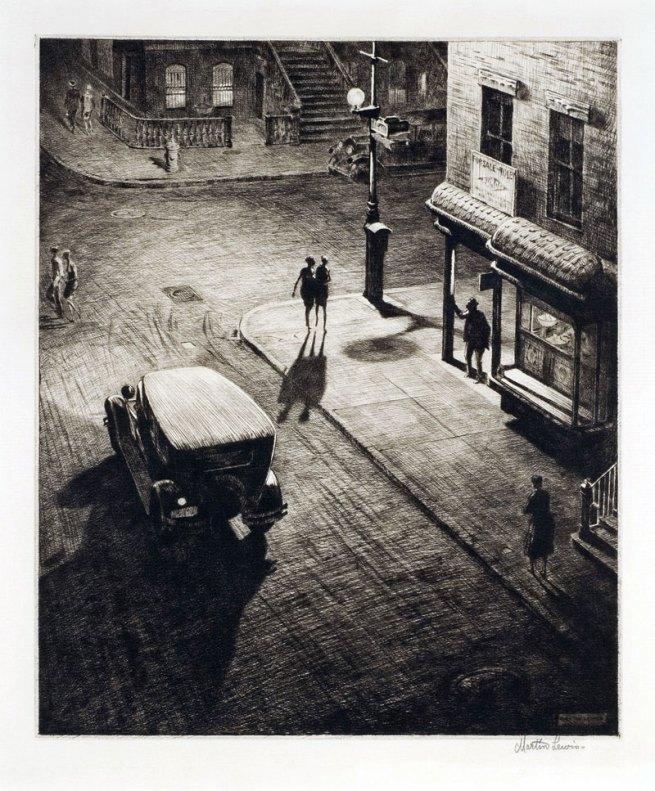Martin Lewis (Australian, 1881-1962). 'Relics (Speakeasy Corner)' 1928