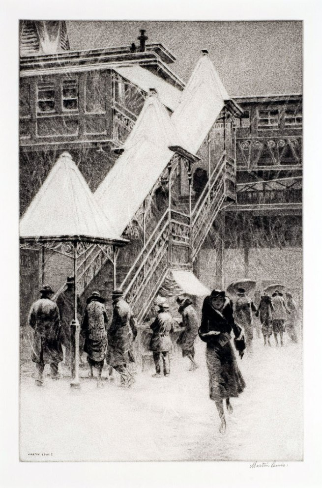 "Martin Lewis (Australian, 1881-1962). 'Snow on the ""El""' 1931"