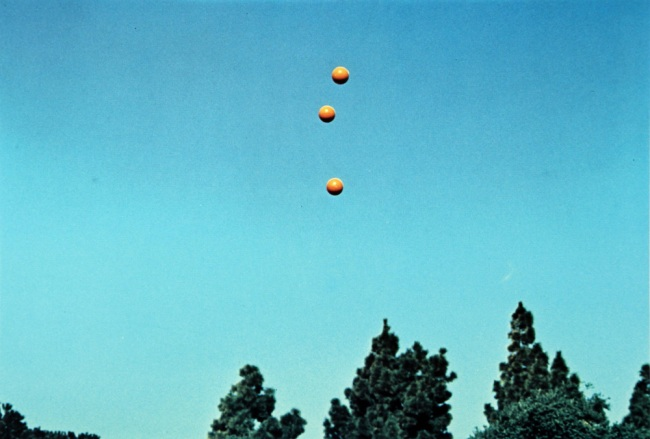 John Baldessari (American, born 1931) 'Throwing Three Balls in the Air to Get a Straight Line (Best of Thirty-Six Attempts)' 1973