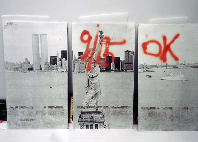 Francesc Torres (Spanish, b. 1948) 'These three panels, offering a view of the Statue of Liberty from 1977, were salvaged from the Cortlandt Street subway station under the World Trade Center' 2009