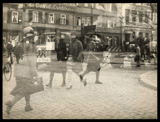 Lyonel Feininger (American, 1871-1956) 'Untitled [Street Scene, Double Exposure, Halle]' 1929-1930