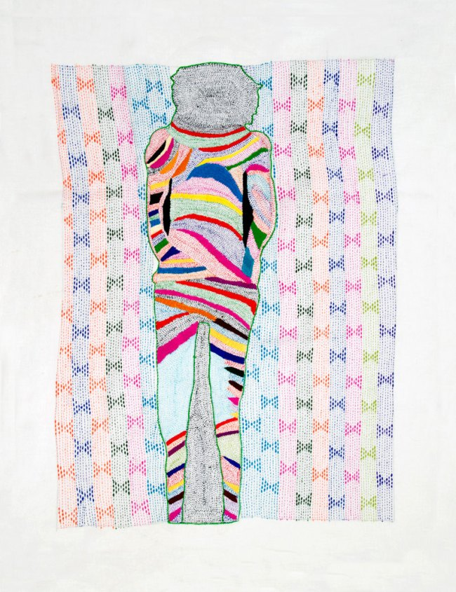 Nicola Loder. 'Tourist #5: Disappearing Project 1-41 (no 16)' 2012 Polyester thread, muslin 86 x 69cm