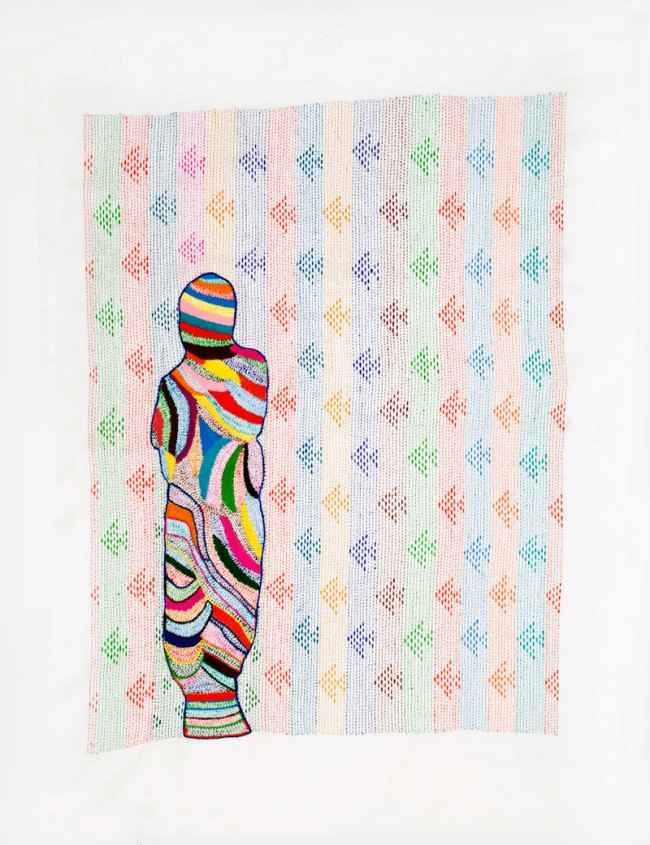 Nicola Loder. 'Tourist #5: Disappearing Project 1-41 (no 18)' 2012 Polyester thread, muslin 86 x 69cm