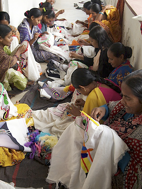 West Bengali women embroidering the 'Disappearances'