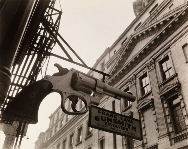 Berenice Abbott. 'Gunsmith and Police Department Headquarters, 6 Centre Market Place and 240 Centre Street, New York City, February 4, 1937' 1937