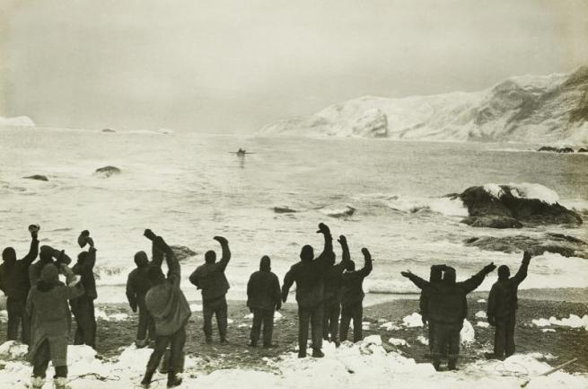 Frank Hurley. 'Sir Ernest Shackleton arrives at Elephant Island to take off marooned men' 30 August 1916