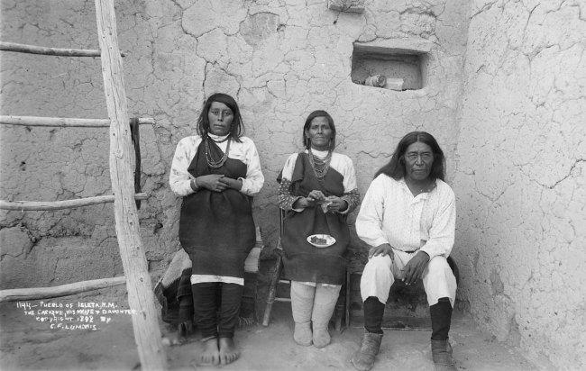 Charles Lummis(American, 1859-1928) 'Cacique Bautista Chivira, with his wife and daughter Lupe Chivira and Rafaelita Chivira Charles' September 21, 1892