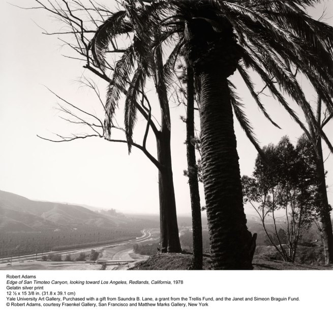 Robert Adams. 'Edge of Timoteo Canyon, looking toward Los Angeles, Redlands, California' 1978