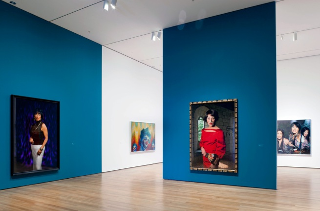 Cindy Sherman society portraits (2008) to left and centre at MoMA, New York