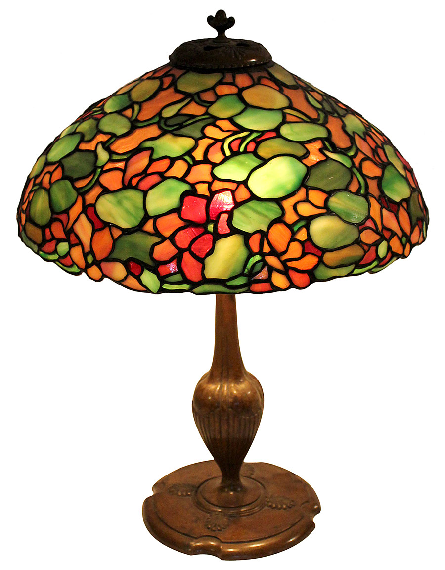 Tiffany Studios Lamp With Grape Motif Art Blart