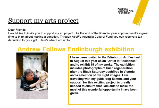 ABAF Andrew Follows support my art project