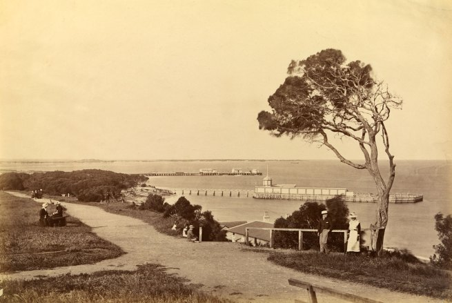 Fred Kruger. 'Steamboat jetty and bathing houses, from Esplanade, Queenscliff' c. 1878-82