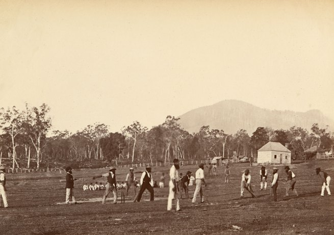 Fred Kruger. 'Aboriginal cricketers at Coranderrk' c.1877