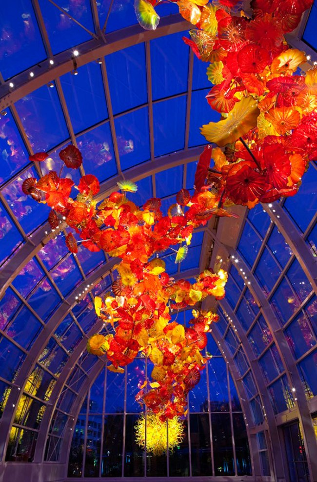 Chihuly Garden and Glass. 'Glasshouse and Pacific Sun (evening)' 2012