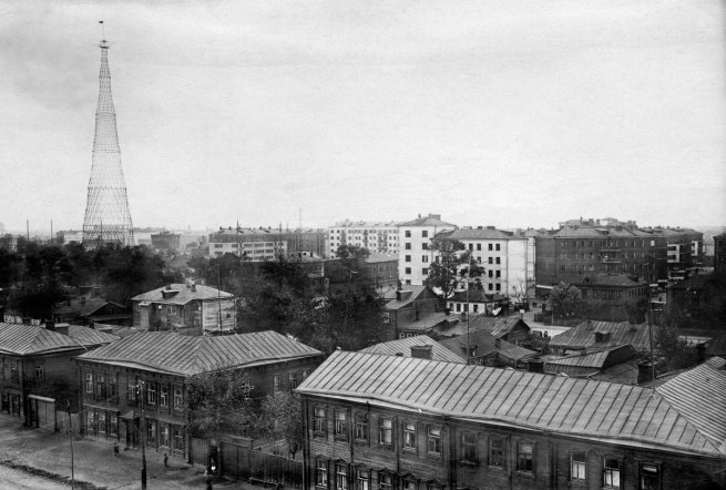 Photographer unknown. 'Havsko-Shabolovskii residential block and Shabolovska Radio tower viewed from the walls of the Donskoy Monastery' 1929