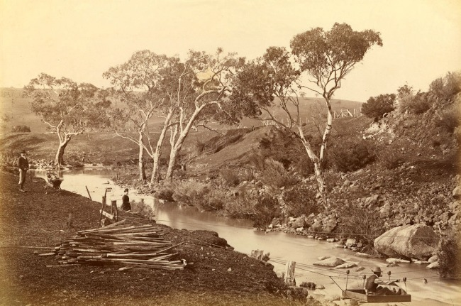 Fred Kruger. 'View on the Moorabool River, Batesford' c. 1879