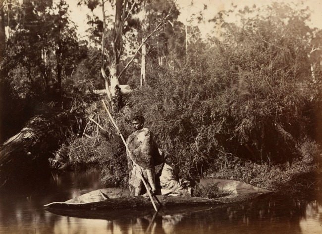 Fred Kruger. 'Aboriginal men in canoe, Coranderrk Aboriginal Station' c. 1883