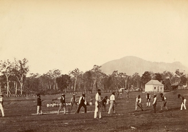 Fred Kruger. 'Aboriginal cricketers at Coranderrk' c. 1877