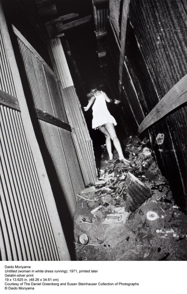 Daido Moriyama. 'Untitled (woman in white dress running)' 1971