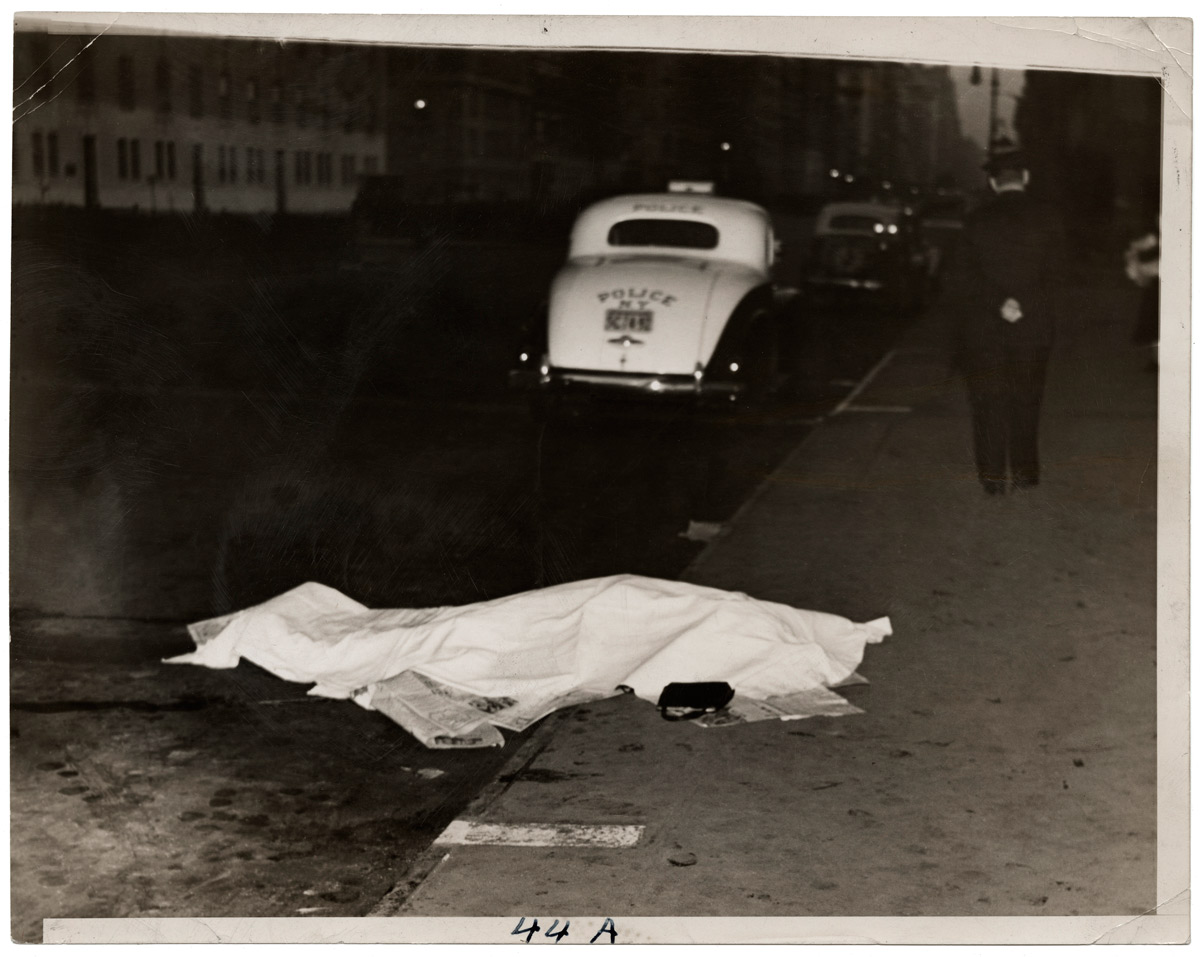 Weegee. 'Girl jumped out of car, and was killed, on Park Ave.,' ca. 1938