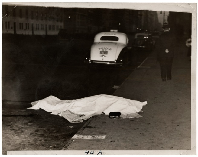 Weegee. 'Girl jumped out of car, and was killed, on Park Ave.,' c. 1938