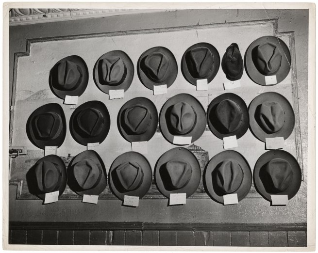 Weegee. 'Untitled [Hats in a pool room, Mulberry Street, New York]' c. 1943