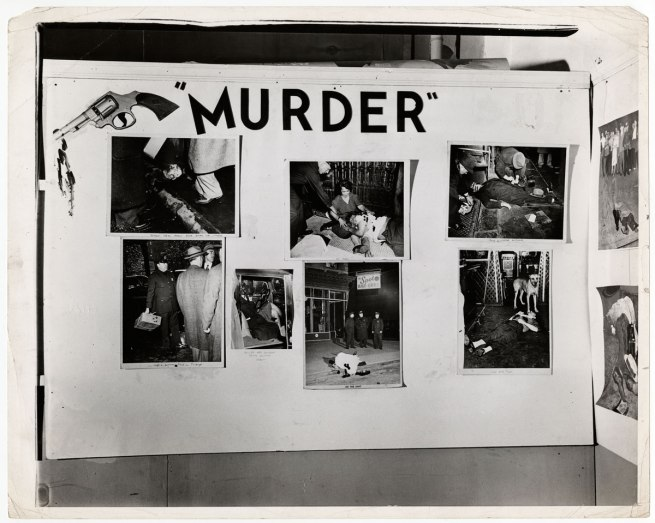 "Weegee. 'Untitled [Installation view of ""Weegee: Murder Is My Business"" at the Photo League, New York]' 1941"