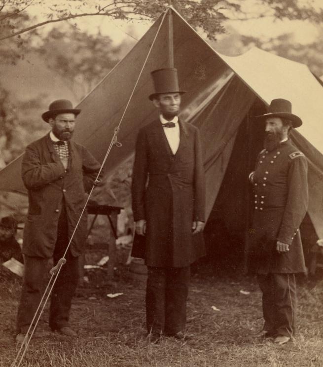 Alexander Gardner (American, born Scotland, 1821-1882) 'President Lincoln, United States Headquarters, Army of the Potomac, near Antietam, October 4, 1862' (detail)