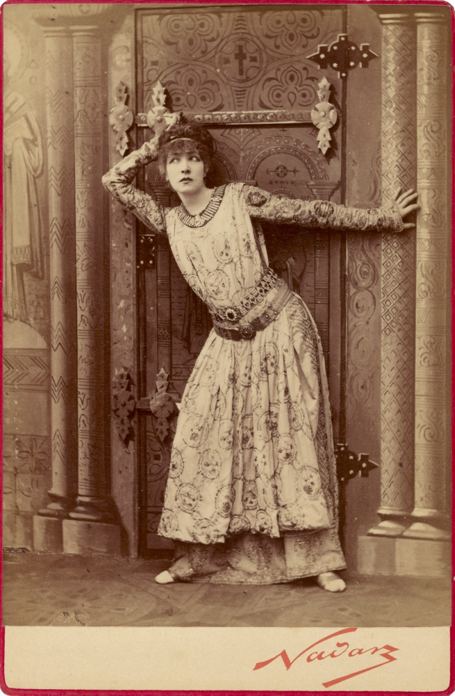 "Nadar [Gaspard Félix Tournachon] (French, 1820-1910) '[Sarah Bernhardt as the Empress Theodora in Sardou's ""Theodora""]' Negative 1884; print and mount about 1889"