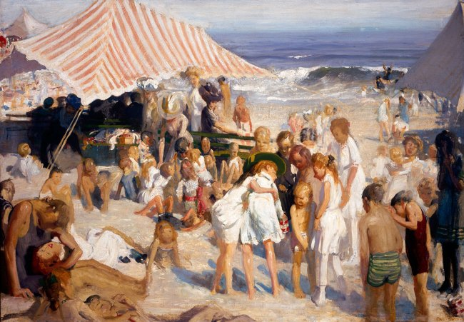 George Bellows. 'Beach at Coney Island' 1908