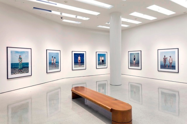 Installation view of the 'Beach Portraits' (1992-2002) series from the exhibition 'Rineke Dijkstra: A Retrospective' at the Solomon R. Guggenheim Museum, New York