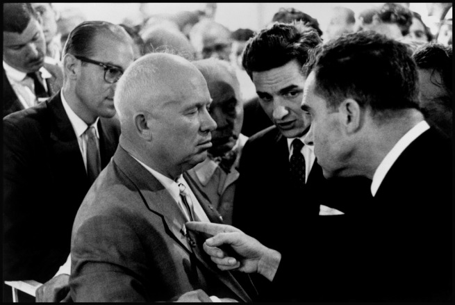 Elliott Erwitt. 'USSR. Moscow. 1959. Nikita Khrushchev and Richard Nixon' 1959