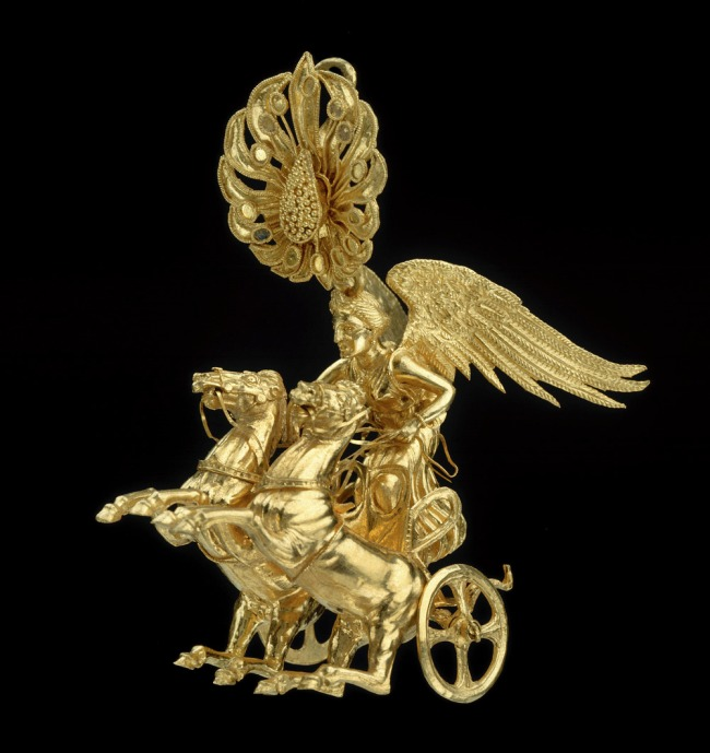 Anon. 'Earring with Nike driving a two-horse chariot' about 350-325 BC