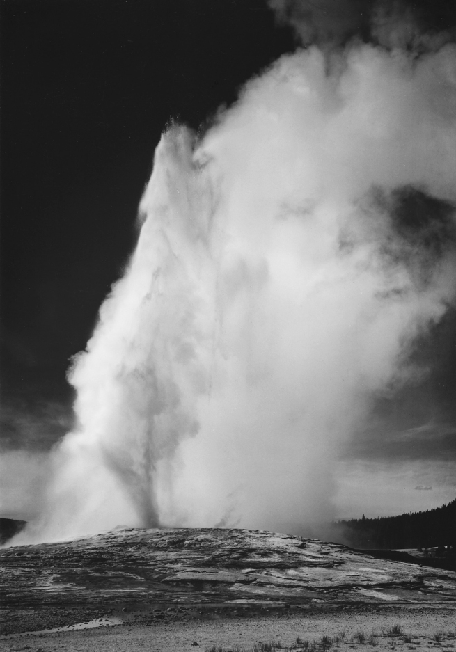 Ansel Adams (American, 1902-1984) 'Photograph of Old Faithful Geyser Erupting in Yellowstone National Park' 1941