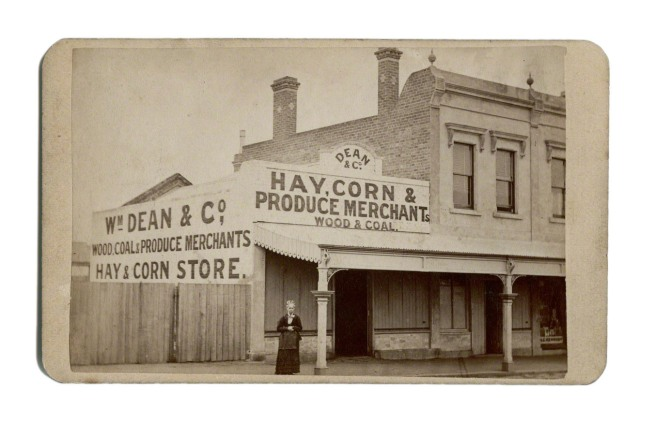 Anonymous photographer. 'Mrs Dean, Dean & Co, Hay, Corn & Produce Merchants, Rea St, North Fitzroy' Nd