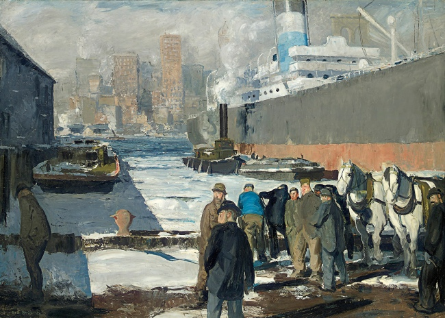 George Bellows (American, 1882-1925) 'Men of the Docks' 1912