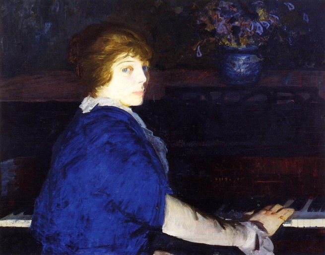 George Bellows (American, 1882-1925) 'Emma at the Piano' 1914